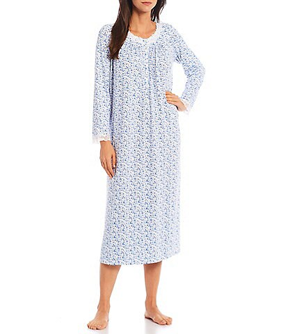 Eileen West Floral Print Jersey Knit Lace Trim Jewel Neck Long Sleeve Ballet Nightgown