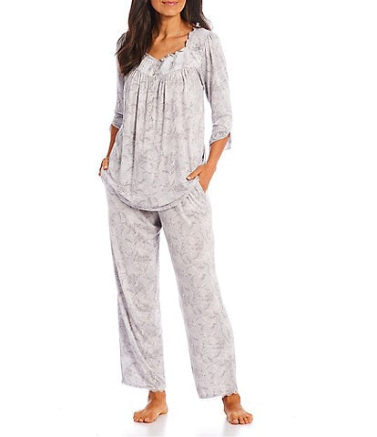 Eileen West Floral Print Square Neck 3/4 Sleeve Ruffle & Lace Knit Pajama Set