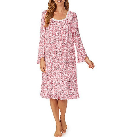 Eileen West Floral Print Square Neck Jersey Knit Waltz Nightgown