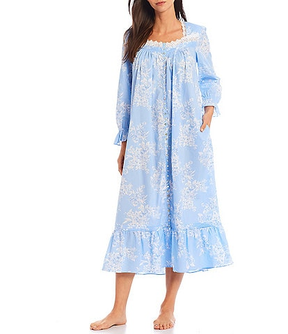 Eileen West Floral Print Woven Lawn Button Front Ballet Robe