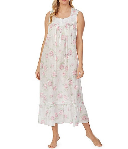Eileen West Large Floral Print Lawn Woven Ballet Nightgown