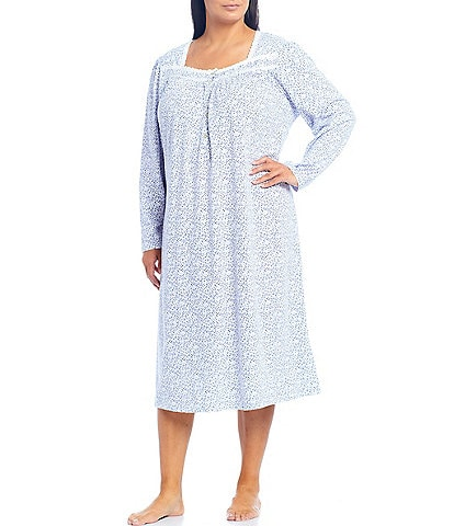 Eileen West Plus Ditsy Bud Print Jersey Knit Ballet Nightgown