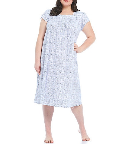 Eileen West Plus Floral Ditsy Printed Jersey Knit Ballet Nightgown