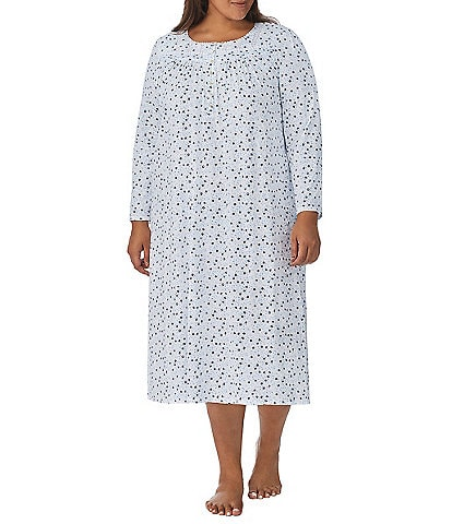 Eileen West Plus Floral Long Sleeve Round Neck Nightgown
