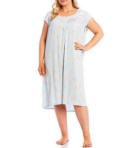 Eileen West Plus Floral Print Jersey Knit Waltz Nightgown