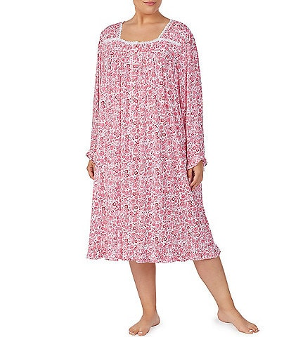 Eileen West Plus Floral Print Square Neck Jersey Knit Waltz Nightgown