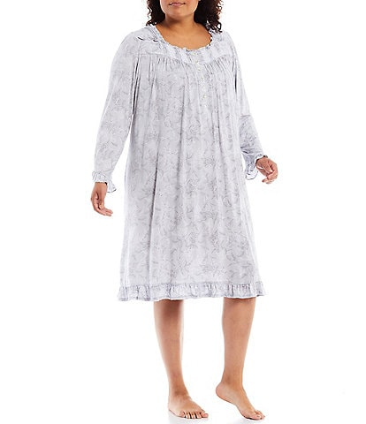 Eileen West Plus Floral Print Square Neck Long Sleeve Modal Waltz Nightgown