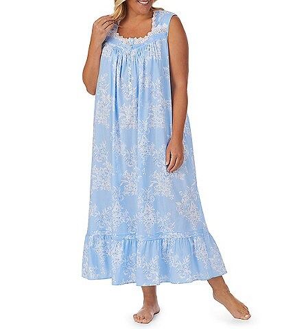 Eileen West Plus Size Floral Ballet Sweetheart Neck Sleeveless Nightgown