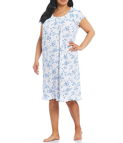 Eileen West Plus Size Floral-Print Jersey Knit Short Sleeve Waltz Nightgown