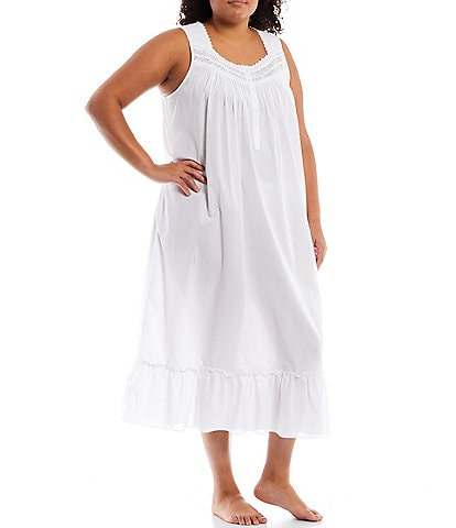 Eileen West Plus Solid Woven Lawn Square Neck Long Balloon Cuff Sleeve Ballet Nightgown
