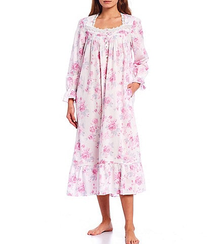 Eileen West Rose Floral Print Woven Lawn Long Sleeve Ballet Nightgown
