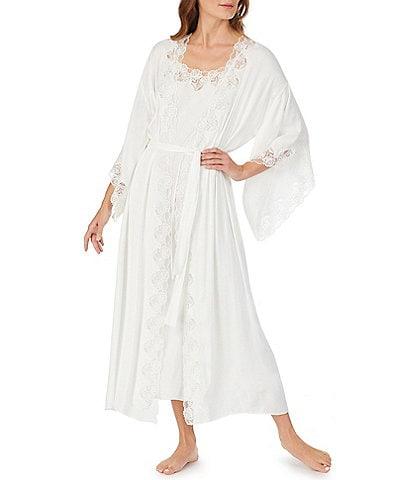 Eileen West Satin & Lace Long Wrap Robe