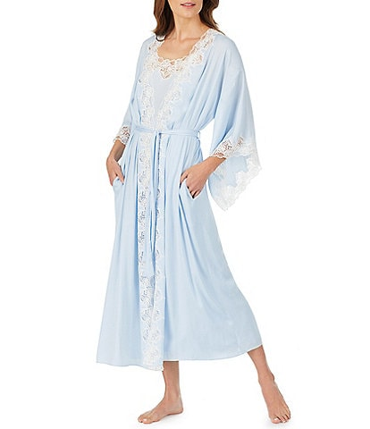 Eileen West Satin & Lace Long Wrap Robe