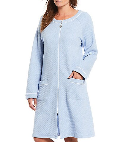 Eileen West Solid Diamond Quilted Knit Zip Front Robe