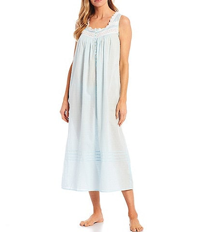 Eileen West Solid Textured Sheer Stripe Ballet Square Neck Sleeveless Nightgown