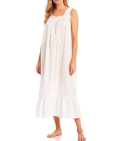 Eileen West Solid Woven Lawn Ballet Square Neck Sleeveless Nightgown