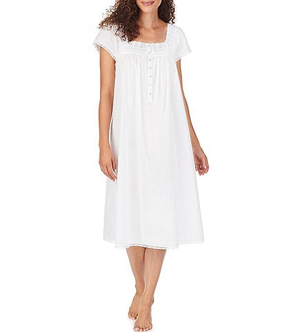Eileen West Solid Woven Square Neck Cap Sleeve Lawn Waltz Nightgown