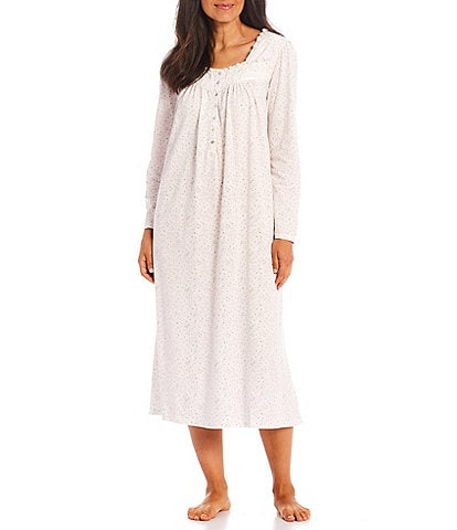 Eileen West Square Neck Long Sleeve Floral Print Knit Long Nightgown