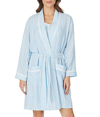 Eileen West Striped Print Woven Short Wrap Robe