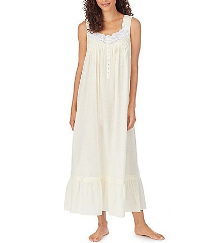 Eileen West Swiss Dot Lawn Sleeveless Woven Ballet Nightgown