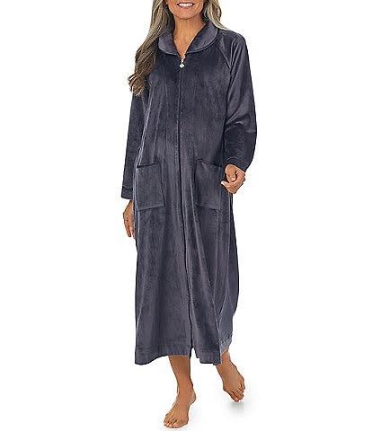 Eileen West Velour Full Zip Long Robe