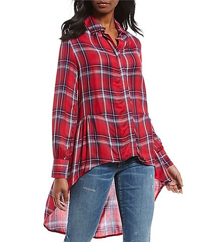 ELAN Plaid Western Inspired Hi-Low Ruffle Hem Button Front Shirt