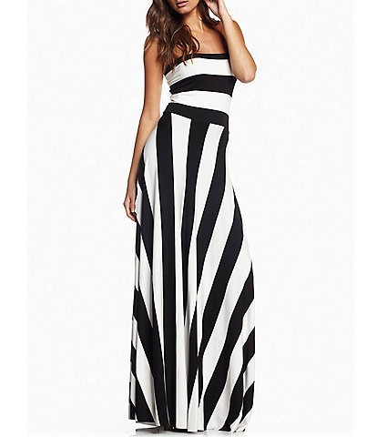 ELAN Stripe Convertible Strapless Maxi Dress
