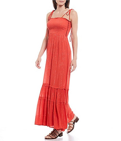 ELAN Tie Strap Lurex Stripe Smocked Bodice Tiered A-Line Maxi Dress