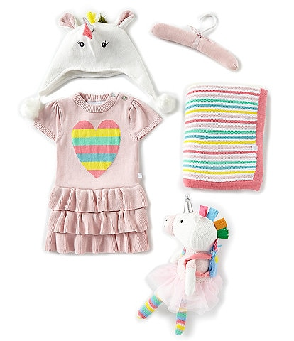 Elegant Baby Baby Girls Newborn-18 Months Bright Unicorn 4-Piece Gift Set