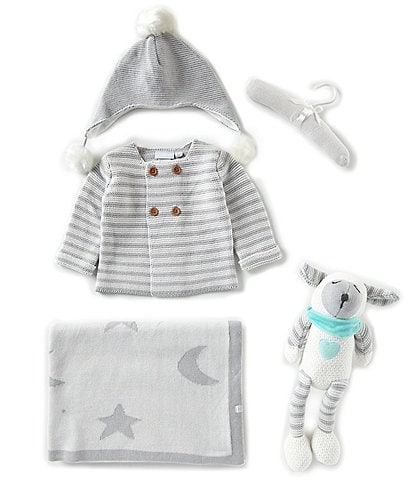 Elegant Baby Baby Newborn-18 Months Sofia And Finn Stripe Cardigan, Hat, Blanket, & Plush Gift Set