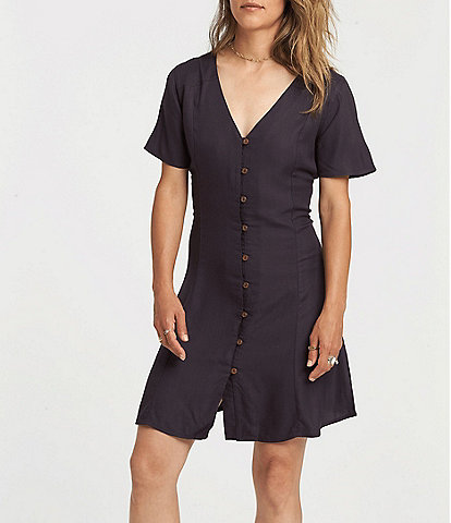 Element Sue Twill Short Sleeve Button Front Dress