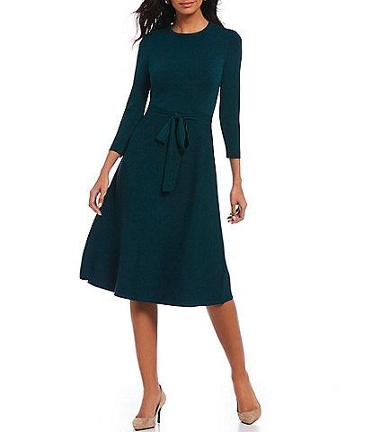 Eliza J 3/4 Sleeve Crew Neck Tie Waist Midi Sweater Knit A-Line Dress