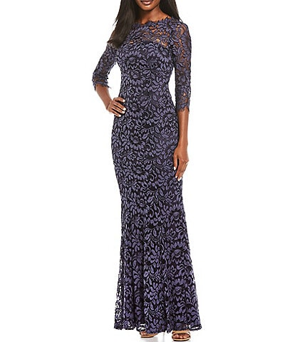 Eliza J 3/4 Sleeve Lace Mermaid Gown