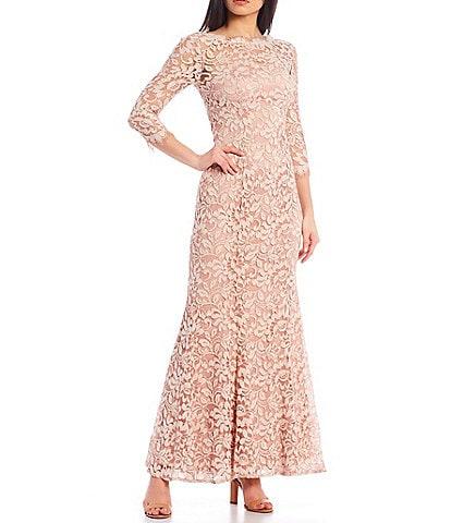 Eliza J 3/4 Sleeve Lace Mermaid Gown