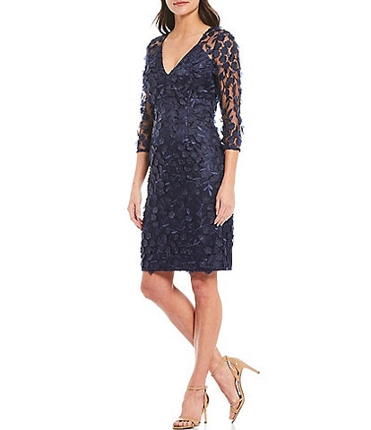 Eliza J 3D Floral Mesh Sheath Dress