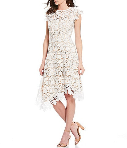 Eliza J Asymetrical Lace Midi Dress