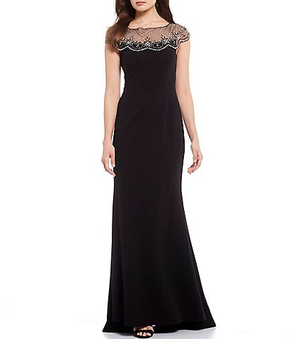 Eliza J Beaded Illusion Neck Scuba Crepe Mermaid Gown