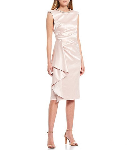 Eliza J Beaded Neck Satin Draped Midi Sheath Dress