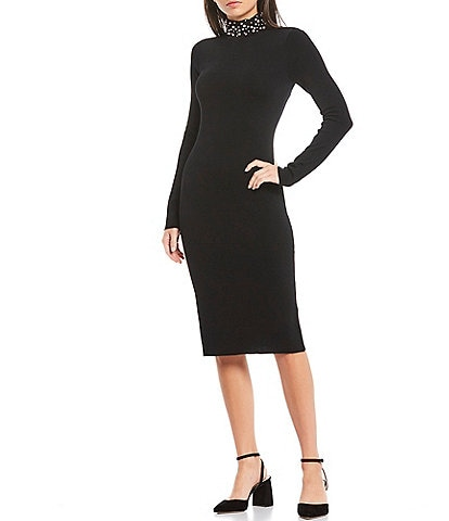 Eliza J Beaded Pearl Turtleneck Long Sleeve Knit Midi Dress
