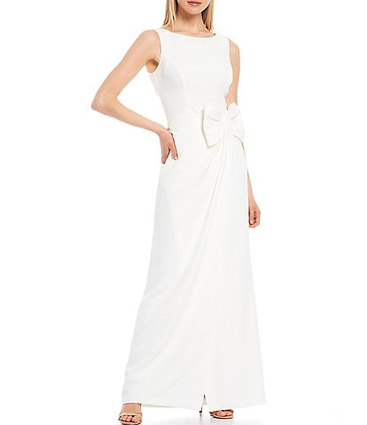 Eliza J Boat Neck Draped Side Bow Laguna Crepe Gown