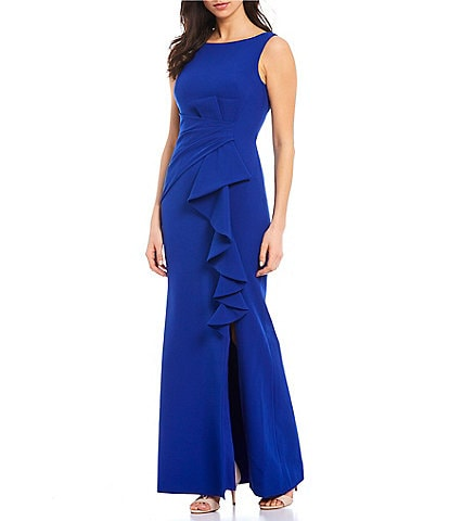 Eliza J Boat Neck Ruffle Front Sleeveless Gown