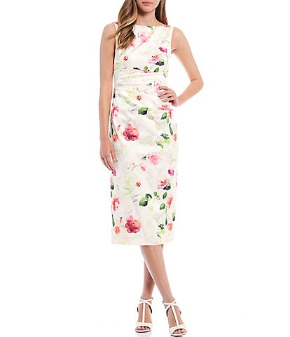 Eliza J Boat Neck Sleeveless Floral Shirred Waist Midi Dress