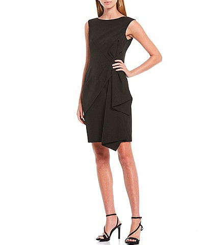 Eliza J Boat Neck Sleeveless Side Ruched Laguna Crepe Sheath Dress