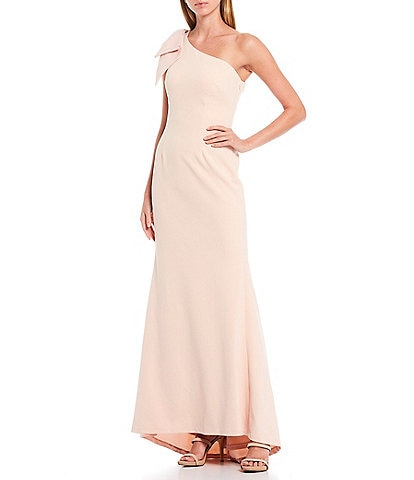 Eliza J Bow Detail One Shoulder Crepe Mermaid Gown