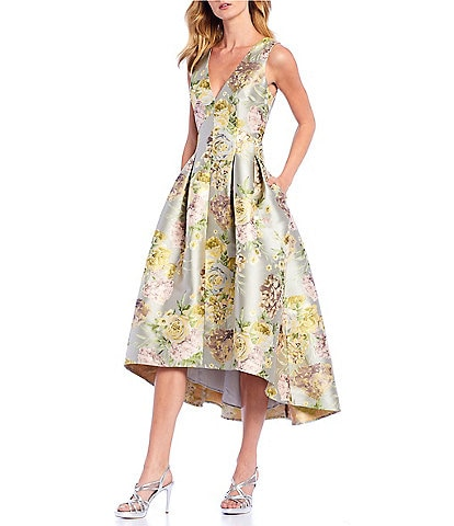 Eliza J Brocade Floral Print Fit & Flare Hi-Low Midi Dress
