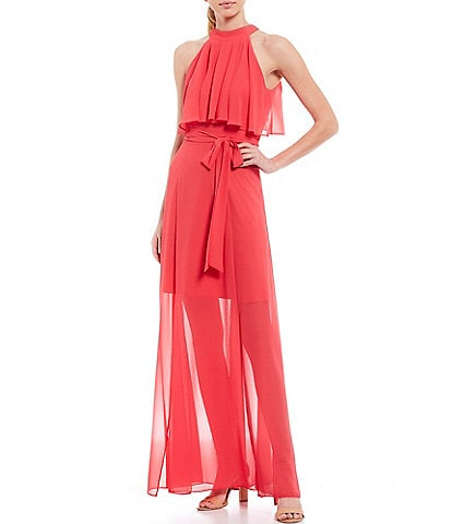 Eliza J Chiffon Pop Over High Round Neck Sleeveless Tie Waist Maxi Dress