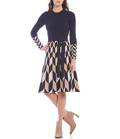 Eliza J Crew Neck Long Sleeve Argyle Printed Knit Sweater Dress