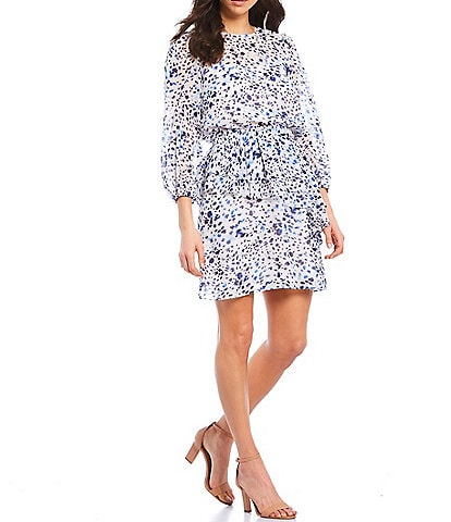 Eliza J Dot Blouson 3/4 Sleeve Tiered Chiffon Dress