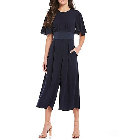 Eliza J Empire Short Flutter Sleeve Pleated Bodice Detail Waist Yoke Crop Jumpsuit