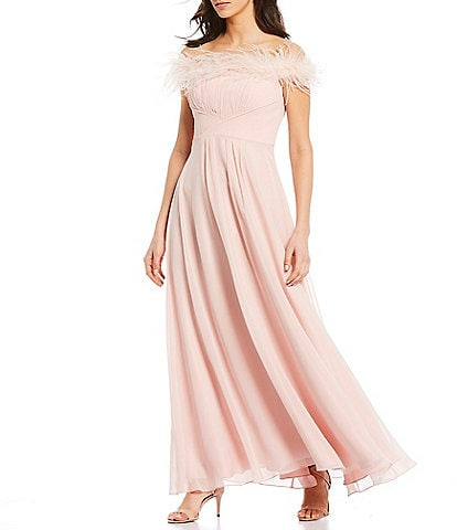 Eliza J Feather Off-the-Shoulder Pleated Fitted Bodice Feather Neck Detail Chiffon Gown